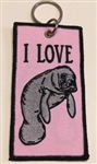MANATEE KEY RING - Pink I Love Manatee