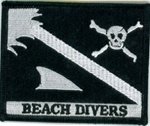 Beach Diver Flag Patch - Black and White
