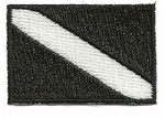Dive Flag Patch - 1.5 x 1 SMALL- BLACK AND WHITE -  WITH STICK ON BACKING- 10 PATCHES