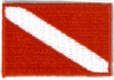 Dive Flag Patch - 1.5 x 1 SMALL stick on patches - 10 patches
