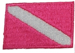 Dive Flag Patch - 1.5 x 1 SMALL BRIGHT PINK - 10 patches