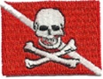 Dive Flag Patch - 1.5 x 1 SMALL- RED SKULL PATCHES -  WITH STICK ON BACKING- 10 PATCHES