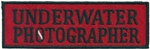 UNDERWATER PHOTOGRAPHER - Red and Black stick on patch