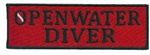 OPENWATER DIVER - Red and Black stick on patch