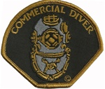 COMMERCIAL DIVER - HELMET PATCH - BLACK BACKGROUND