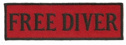 "FREE DIVER - 4"" X 1.25"" - BLACK AND RED WITH STICK ON BACKING."