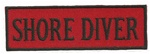 "SHORE DIVER - 4"" X 1.25"" - BLACK AND RED WITH STICK ON BACKING."