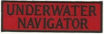 "UNDERWATER NAVIGATOR - 4"" X 1.25"" - BLACK AND RED WITH STICK ON BACKING."