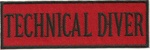 "TECHNICAL DIVER- 4"" X 1.25"" - BLACK AND RED WITH STICK ON BACKING."