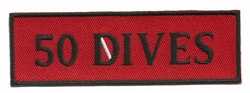"50 DIVES- 4"" X 1.25"" - BLACK AND RED WITH STICK ON BACKING."