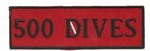 "500 DIVES- 4"" X 1.25"" - BLACK AND RED WITH STICK ON BACKING."