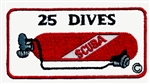 25 Dives Scuba Tank Patch