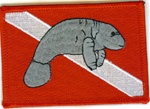 Manatee Dive Flag Patch - With Stick on Backing
