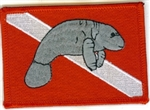 Manatee Dive Flag Patch - With Stick on Backing - WHOLESLAE