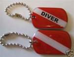 Diver Dog Tag key chain with 3 inch chain