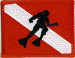 Scuba Flag Patch with Shadow of Diver