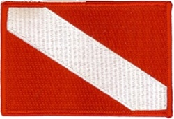 Dive Flag Patch - 2.5 x 3.5 - Wholesale - Stick On Backing