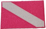 Dive Flag Patch- Bright Pink -  2.5 x 3.5 - Has Stick On Backing