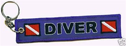 Scuba Diving Key Ring - Zipper Pull- Blue with Dive Flag