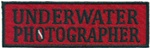 UNDERWATER PHOTOGRAPHER - Red and Black stick on patch- Wholesale