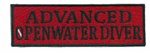ADVANCED OPENWATER DIVER - Red and Black stick on patch