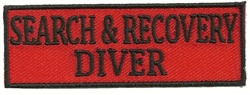 SEARCH AND RECOVERY DIVER- EMBROIDERED PATCH - BLACK AND RED