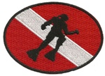 SCUBA FLAG OVAL PATCH WITH DIVER