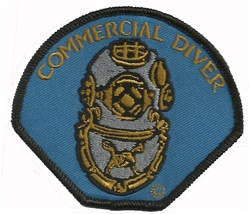 COMMERCIAL DIVER - HELMET PATCH - BLUE  BACKGROUND