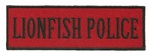 "LIONFISH POLICE - 4"" X 1.25"" - BLACK AND RED WITH STICK ON BACKING."