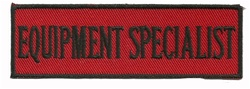 "EQUIPMENT SPECIALIST - 4"" X 1.25"" - BLACK AND RED WITH STICK ON BACKING."