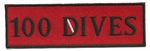 "100 DIVES- 4"" X 1.25"" - BLACK AND RED WITH STICK ON BACKING."