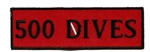 "500 DIVES- 4"" X 1.25"" - BLACK AND RED -20 patches wholesale"