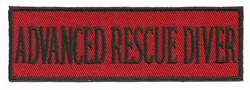 "ADVANCED RESCUE DIVER 4"" X 1.25"" - BLACK AND RED WITH STICK ON BACKING."
