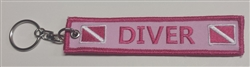 Scuba Diving Key Ring - Zipper Pull- Pink with Dive Flag