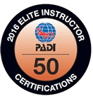 PADI ELITE INSTRUCTOR 50 CERTIFICATIONS -2016