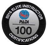 PADI ELITE INSTRUCTOR 100 CERTIFICATIONS -2016