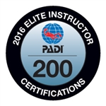 PADI ELITE INSTRUCTOR 200 CERTIFICATIONS -2016