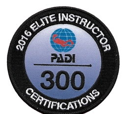 PADI ELITE INSTRUCTOR 300 CERTIFICATIONS -2016